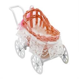 1:12 Miniature Metal Baby Stroller Pink Dolls Pram Furniture