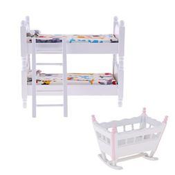 Fenteer 1/12 Scale White Wood Children Bunk Bed Baby Cradle