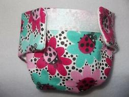 #1 BABY DOLL CLOTH DIAPER LADYBUG FLOWER FITS SOME BABY ALIV