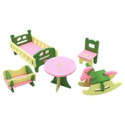 1 set/5pcs Baby Wooden Dollhouse Furniture Dolls House Minia