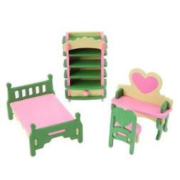 SODIAL 1 set/4pcs Baby Wooden Dollhouse Furniture Dolls Hous