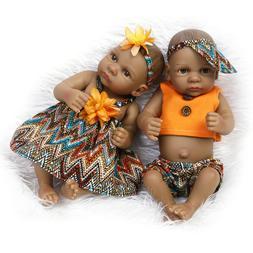 "10""Full Body Silicone Lifelike Reborn Baby Dolls Black Baby"