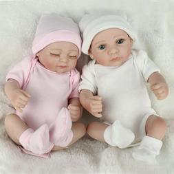 10 Inch Reborn Baby Twins Dolls Handmade Vinyl Silicone Newb