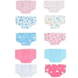 SOTOGO 10 Pack Baby Doll Diapers Underwear for 18'' American
