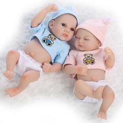 "10"" Preemie Bebes Reborn Twin Boy And Girl Doll Silicone Lif"