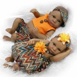 "11"" Newborn Black African Twins Baby Boy Girl Full Body Viny"
