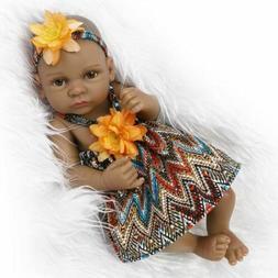11'' Reborn Baby Dolls Soft Body Girl Black Skin African Ame