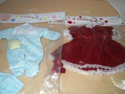 """12"""" Baby Doll Clothing Sets by Sophia's Red Velvet Dress and"""