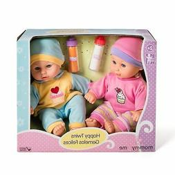 12'' Baby Twins Dolls 1 Boy & 1 Girl with Milk & Juice Bottl