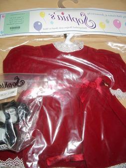 """15"""" Baby Doll Christmas Outfit Sophia's Red Velvet Dress/Hea"""