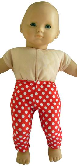 """15"""" Doll Clothes fits Bitty Baby Red Polka Dot Leggings Hand"""