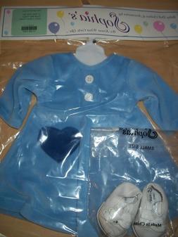"""15"""" Sophia's Baby Doll Light Blue Velour Dress With Heart Po"""