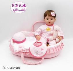 16'' Realistic Reborn Baby Girl Doll Lifelike Soft Silicone