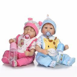 "16"" Twins Reborn Baby Dolls Newborn Babies Vinyl Silicone Ha"