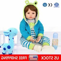 "17"" Reborn Dolls Baby Real Life Like Silicone Boy Newborn To"