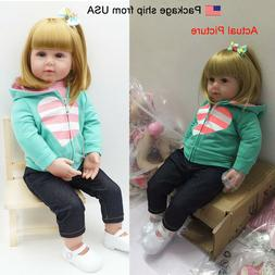 "18"" Reborn Baby Dolls Lifelike Toddler Girl Cloth Weighted B"