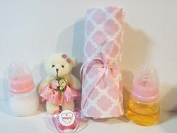 2 Reborn Baby Doll Bottles 2oz PINK  Fake Milk Juice + Bear