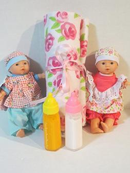 2 Mini Toysmith Baby Dolls Caucasian  + Disappearing Milk +