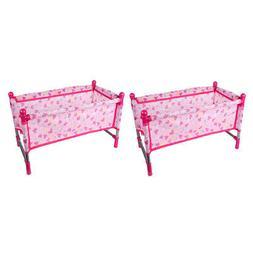 2 Sets Baby Nursery Room Furniture Decor Doll Pink Bed Kids