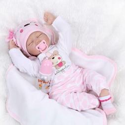 "20"" Girl Lifelike Reborn Baby Doll Washable Full Body Silico"