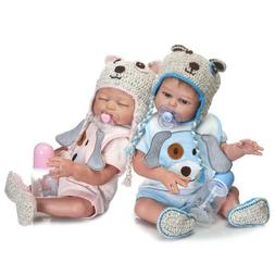 "20"" Twins Reborn Baby Dolls Boy and Girl Bath Able Full Body"