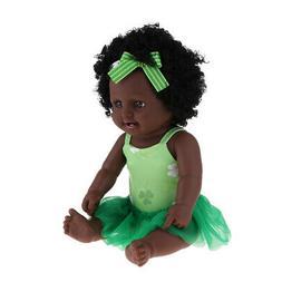"20"" Vinyl African American Doll Reborn Baby Girl Doll Clothe"