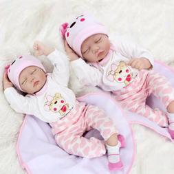 """22"""" 2 Dolls Reborn Baby Doll Newborn Lifelike Silicone Twins"""