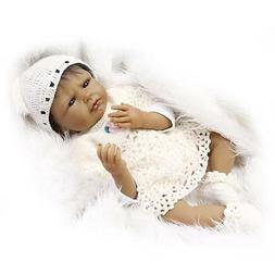 22'' Bebe Reborn Black Baby Dolls Silicone Vinyl Handmade Li