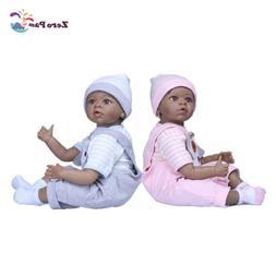 """22"""" Black Ethnic Reborn Baby Dolls Twin Boy & Girl African A"""