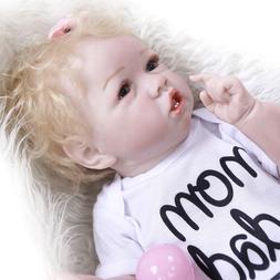"""22"""" Cute Reborn Baby Girls Silicone Full Body Dolls Lifelike"""