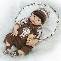 22'' Eyes Open Baby Doll Boy Full Body Silicone Lifelike Reb