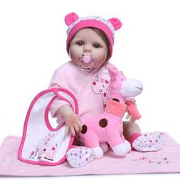 "22"" Full Body Silicone Vinyl Reborn Newborn Dolls Lifelike B"