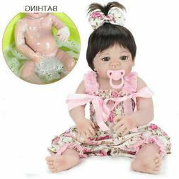 "22"" Full Body Vinyl Silicone Girl Doll Newborn Handmade Rebo"