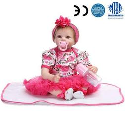 "22"" Handmade Lifelike Baby Girl Doll Silicone Vinyl Reborn N"