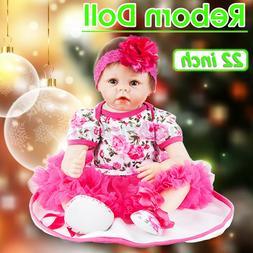 22'' Handmade Lifelike Baby Girl Doll Silicone Vinyl Reborn