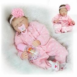 "22"" Newborn Lifelike Handmade Reborn Baby Toy Silicone Vinyl"