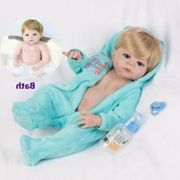 "22"" Newborn Reborn Baby Dolls Realistic Boy Full Vinyl Silic"