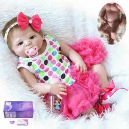 "22"" Realistic Reborn Baby Dolls Full Body Vinyl Silicone Gir"