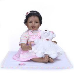"22"" Reborn African American Doll Black Silicone Baby Dolls t"