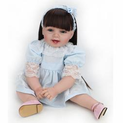 "22"" Reborn Baby Doll Girl Soft Vinyl Real Life Newborn Long"