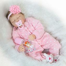 "22""Reborn Baby Doll  Lifelike Handmade  Silicone Vinyl Sleep"