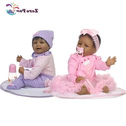 """22"""" Reborn Baby Dolls African American Girl Twins Silicone V"""