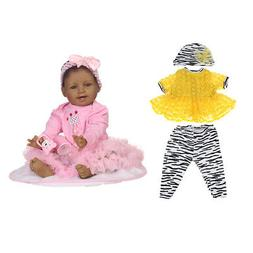 """22"""" Reborn Doll African American Baby 2 Suit Clothes Set - B"""