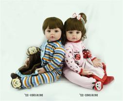 """22"""" Reborn Dolls Twin Boy & Girl Real Looking Baby Dolls Boy"""
