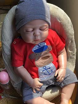 "22"" Reborn Newborn Baby Doll Silicon Full Body Lifelike Slee"