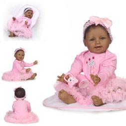 "22"" Silicone Realistic Reborn African American Doll Black Si"