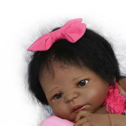 "23"" Black Reborn Baby Dolls Girl Silicone Full Body African"