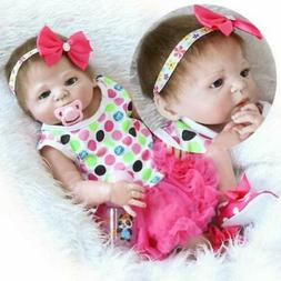 "23""Reborn Full Body Silicone Girl Baby Doll Newborn Preemie"
