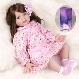 "24"" REAL REBORN BABY DOLLS VINYL SILICONE GIRL TODDLER NEWBO"
