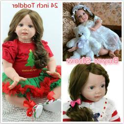 """24""""Toddler Reborn Baby Dolls Handmade Vinyl Silicone Newborn"""